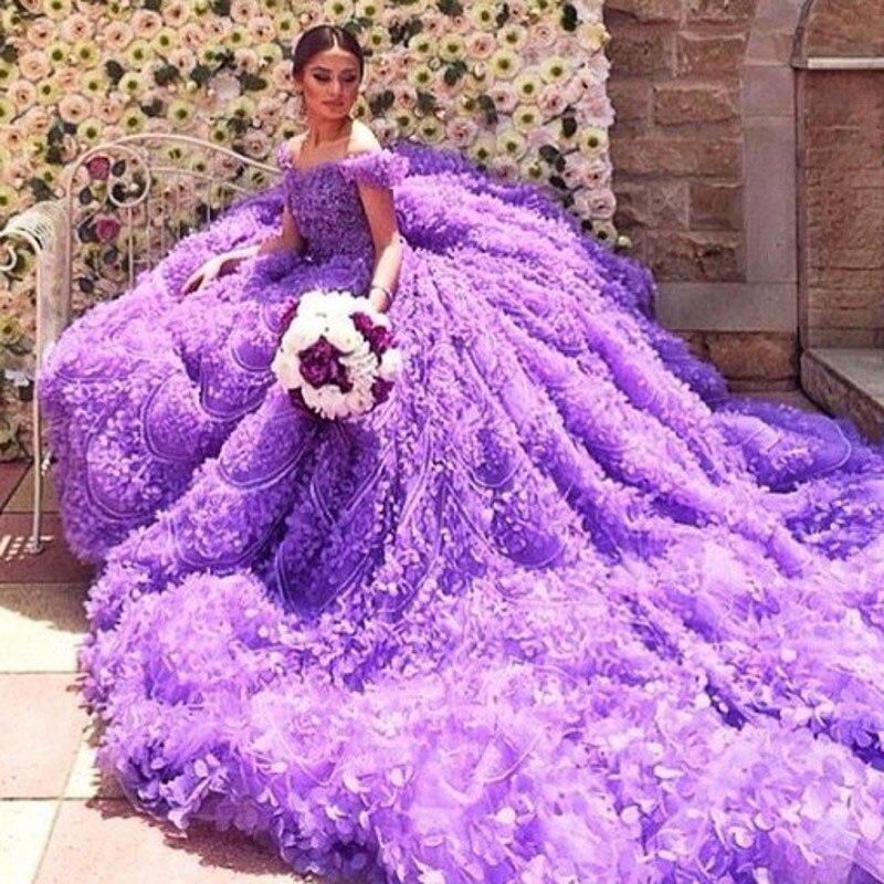 Baratos Imágenes reales nueva púrpura elegante catedral tren vestido ...