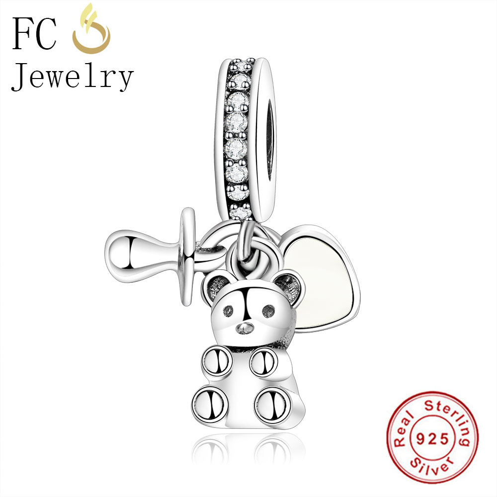 FC Jewelry Fit Original Pandora Charm Bracelet 925 Sterling Silver Baby Treasure Bear&Nipple Pacifier Beads Pendant Necklace DIY