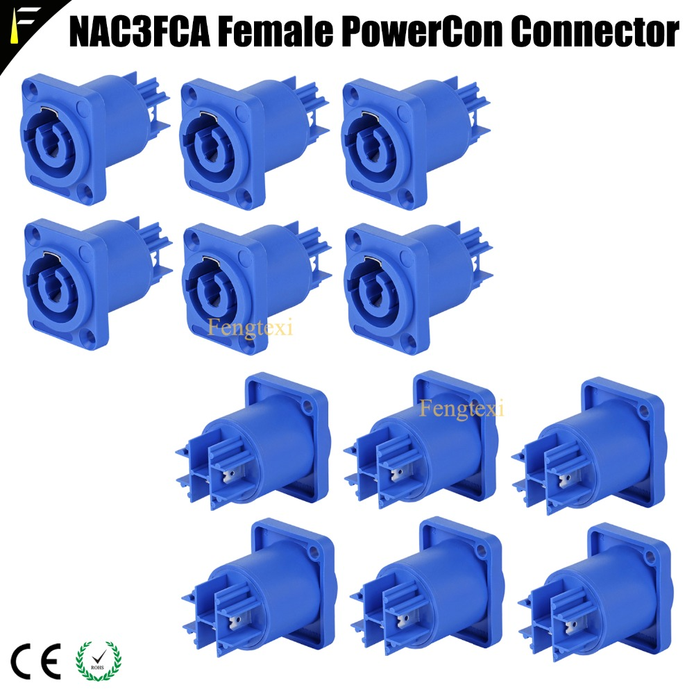 12pcs Easy Lock Female 3 Pin PowerCon Aviation Socket 250V/20A For Power Cable Fitting For NC3FCA&NC3FCB Plug In