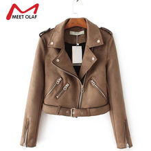 2017 Women Suede Leather Jackets New Fashion Short Side Zipper Female Solid Faux Leather Coats Ladies Moto Biker Overcoat  Y1173