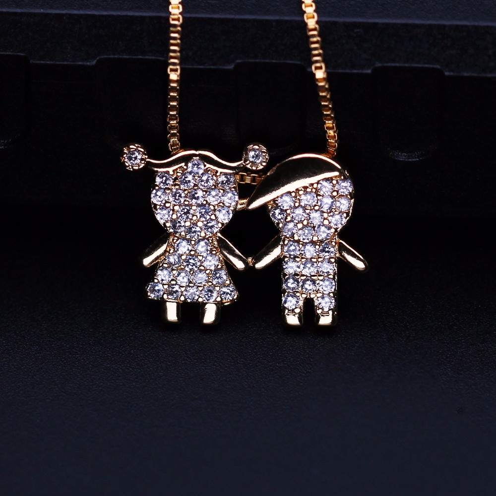 Mother gift 2018 New Design Boy And Girl Pendant Necklace For Women Gift PGY046