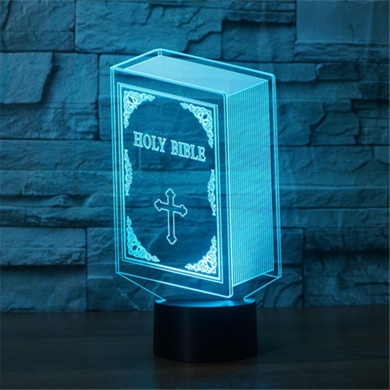 2018 New Foreign Trade Bible 7 Color 3d Lamp Led Acrylic Visual Lamp Creative Touch Illusion Lamp Led Toys Christmas Gift Toys & Hobbies