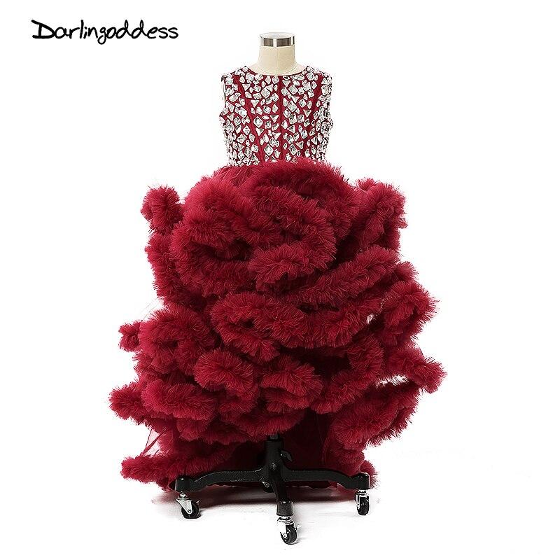 Puffy Princess Flower Girls Dresses for Wedding Cloud Little Kids First Communion Dresses Pageant Dress Prom Dress for Girl 2017