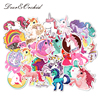 30pcs Stickers Scrapbooking Unicorn Series Cute Kawaii Stickers Colorful Patterns for Kids Waterproof No Fading Guitar Decal