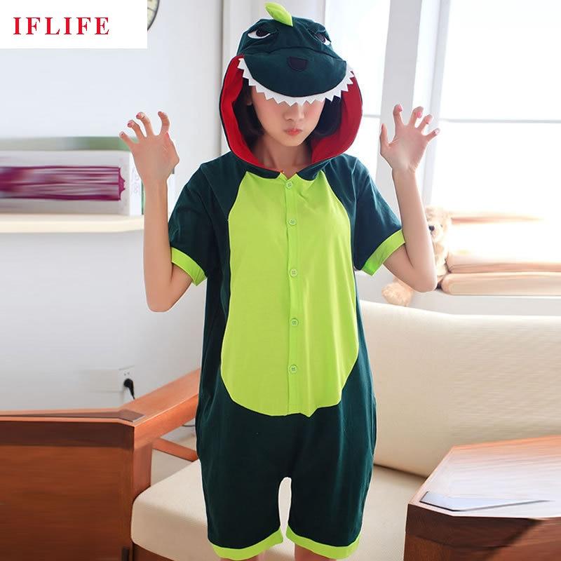 Kigurumi Onesie Unisex Adult Women Dinosaur Green Pajamas Costume Animal Cosplay Summer Short Sleeve Cartoon Hoodie Sleepwear