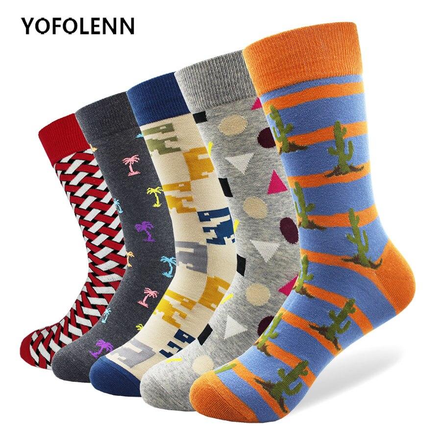 5 pairs Mens Combed Cotton Crew Socks Colorful Diamond Funny Happy Socks Wedding Casual Sock Gift Harajuku Sokken Meias