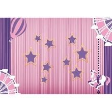 Laeacco Happy Birthday Star Curtain Helium balloon Unicorn Baby Cartoon Scene Photo Background Photography Backdrop Studio