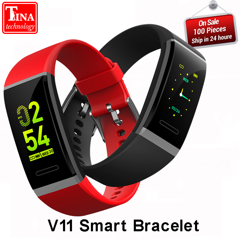 100% Original V11 Smart Wristband Heart Rate Blood Pressure Smart Bracelet band Pedometer Sport Fitness Tracker For Android IOS dawo ecg smart bracelet blood pressure smart wristband heart rate temperature pedometer bluetooth fitness band for ios android