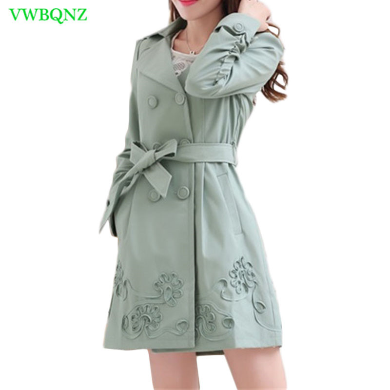 Spring Autumn New Embroidered Windbreaker Coat Women Korean Wild Slim Bow tie   Trench   Coats Women's High quality Outerwear A664