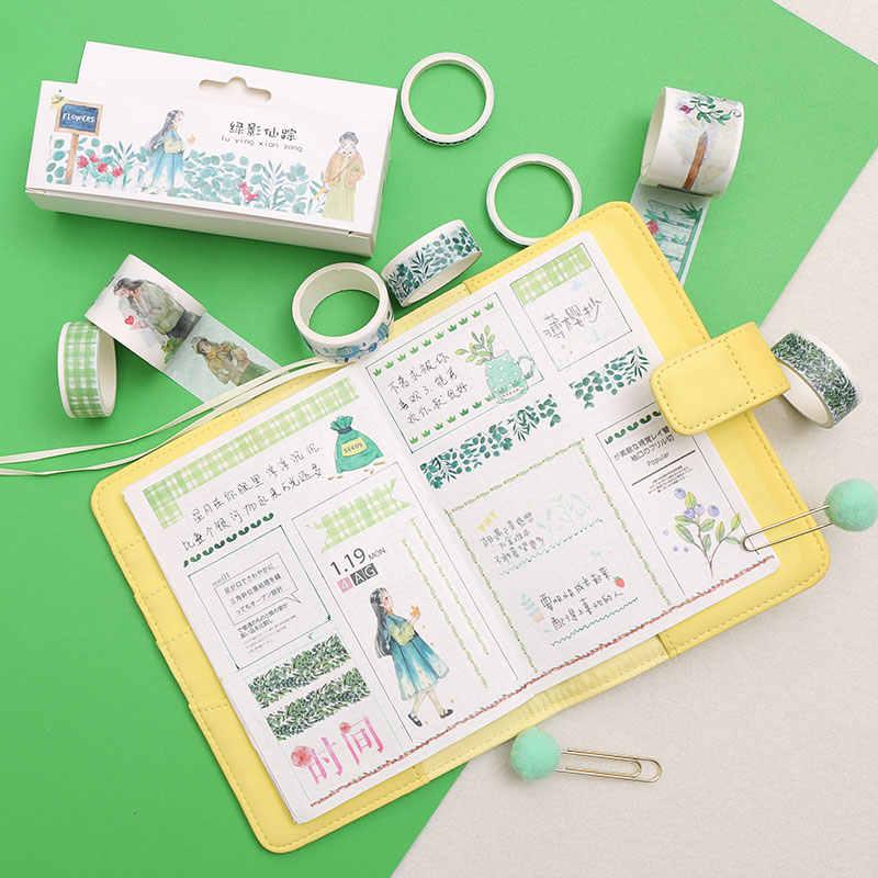 8 unids/caja flor bonita Washi cinta DIY decoración Scrapbooking planificador papel adhesivo ancho cinta adhesiva etiqueta adhesiva papelería