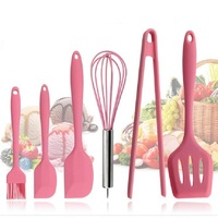 6pcs Pink Silicone Cookware Sets 6 pieces Egg Beater Spoon Clip Spatula Oil Brush kitchenware 6 Dresses kitchen Tools