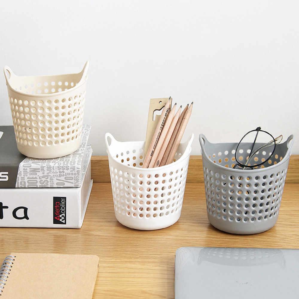 Mini cesta de lixo de armazenamento desktop moda criativa lata de lixo 11.3x11cm design oco casa escritório cesta de armazenamento plástico f120