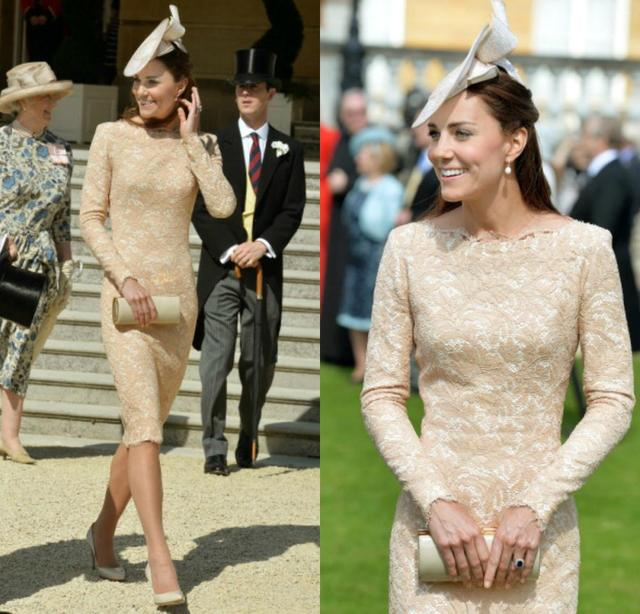 Long Sleeve Lace Red Carpet Celebrity Dresses Knee Length Kate Middleton  Champagne And Ivory-in Celebrity-Inspired Dresses from Weddings   Events on  ... d1f57d42c9c6