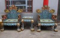 Китай Royal 100% Pure Bronze перегородчатой огромный Dragon дворец настольная кресло трон комплект