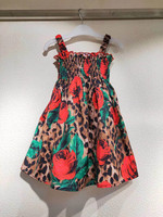 High quality brand Summer Red Rose Pattern Printed Baby Girls Dress Party sleeveless Dress for Girl Leopard Print Rose Dress