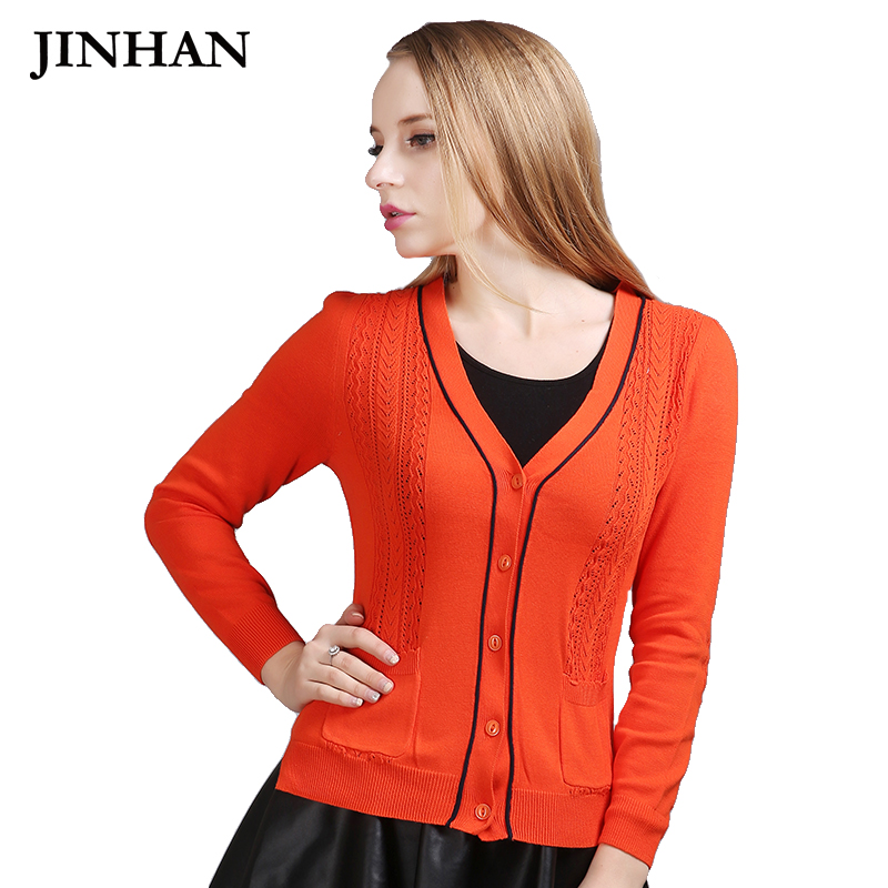JINHAN 2018 Deep V Neck Womens Cardigans Winter Orange Striped Color Female Jackets Single Breasted Slim Knitted Sweaters JHS827