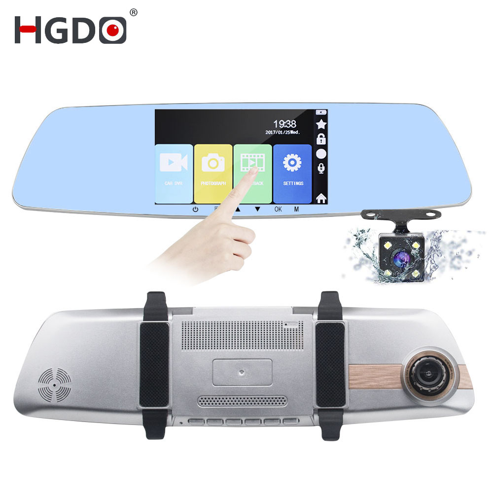 HGDO Car Dvr Video-Recorder Parking-Monitor Rearview-Mirror Dash-Camera Touch-Screen