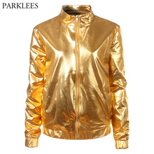 Gold Metallic Coated Women Jacket 2018 Brand New Stand Collar Zipper Front Bomber Jacket Women Shiny Nightclub Jackets and Coats цена