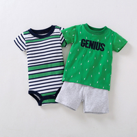 3pcs Baby Boys Sets Summer Green Letter T Shirt Green Striped Short Sleeves Bodysuits White Shorts