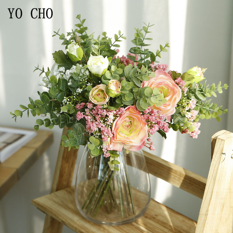 YO CHO Bride Wedding Bouquet Artificial Silk Lotus Rose Flower Eucalyptus Leaf Baby's Breath Bridesmaid White Bouquet Home Decor