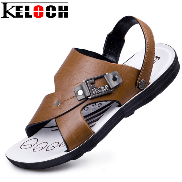 Keloch Mannen Pu Mode Sandalen Mannelijke Schoenen Platte Lederen rrFzqnWS4