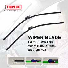 Wiper Blade Fits for BMW 5 Series E39 (1995-2003) 1 set 26+22,Flat Aero Windscreen Frameless Soft Beam