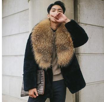 Double Breasted Male Imitation Mink Fur Jackets Faux Raccoon Fur Collar Mens Winter Overcoats Large Size Faux Fur Coats Cj65