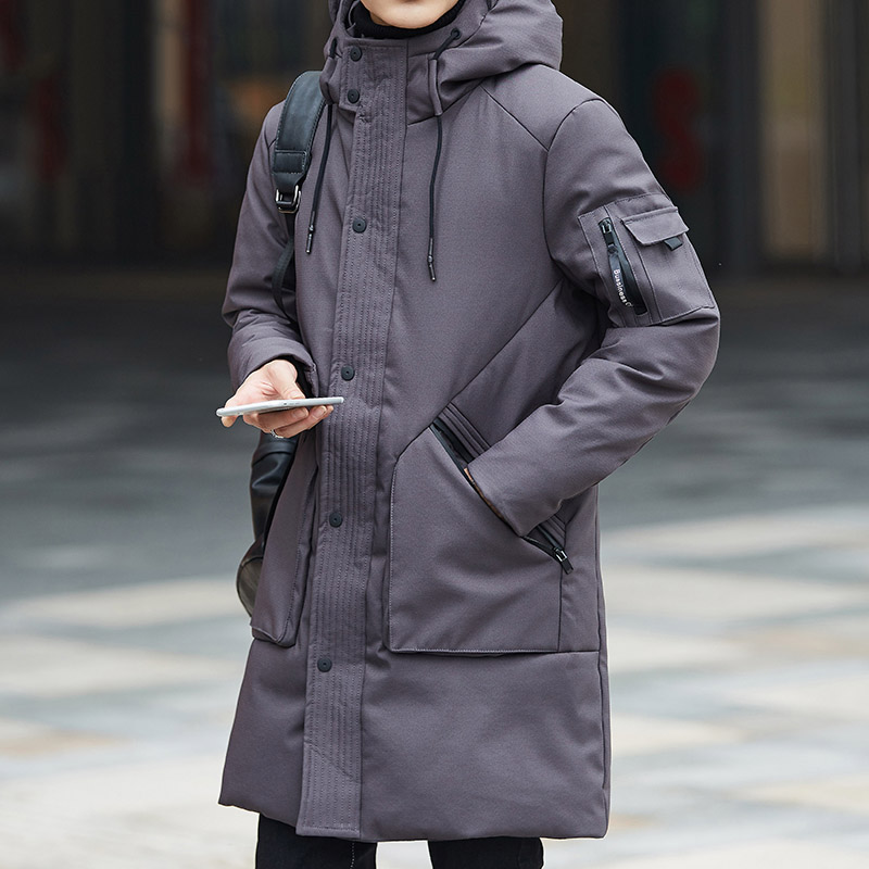 Pockets long down coat men hooded thick warm winter down jacket fashion outerwear new 2019 autumn winter collection plus size
