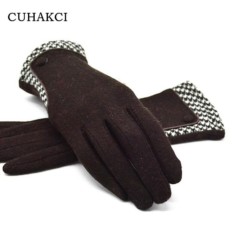 CUHAKCI Winter Gloves Cashmere High Quality New Brand Fashion Women's Thin Wrist Gloves Warm Cashmere Mittens Female Fur Mittens