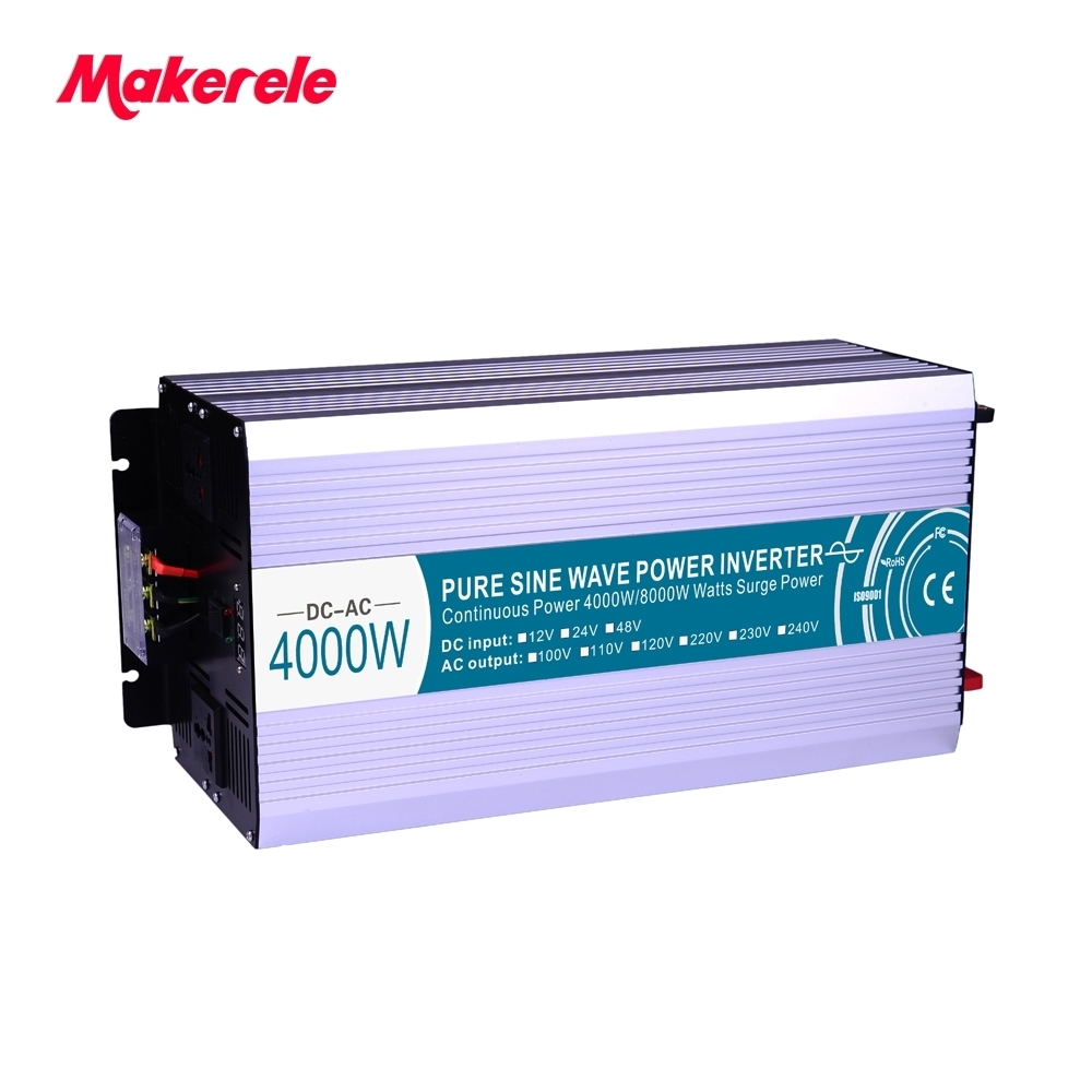 цена на 4000W Power Inverter Peak 8000W Pure Sine Wave 12V/24V/48V to 110V/220V Off Grid with USB Port Home Use Car Use