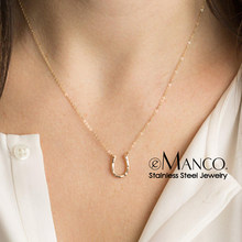 e-Manco Trendy Stainless Steel Necklace Punk Chokers Necklaces for women 2019 Statement U Shape Charm Necklace(China)