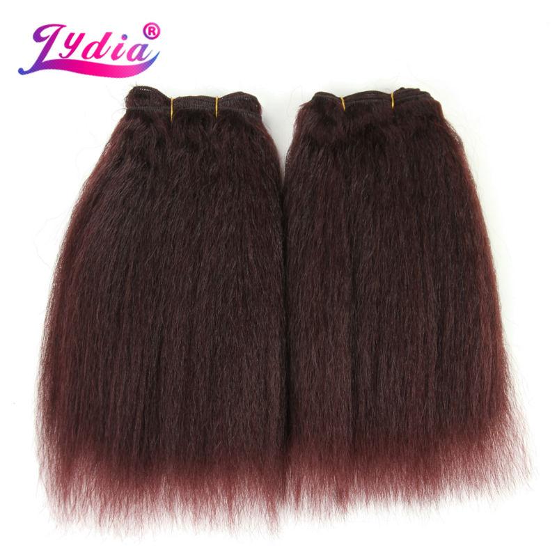 Lydia pro černé ženy Extenze na syntetické vlasy Kinky Rovné tkaní Pure Color 10 Inch Hair Wave 3ks / svazky vlasů