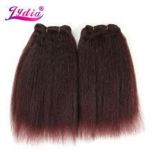 Lydia для чернокожих женщин синтетические волосы для наращивания курчавые прямые тканые однотонные волосы 10 дюймов Волнистые 3 шт./лот пучки волос