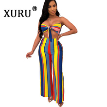 XURU Summer New Womens Print Jumpsuit Two-piece Color Stripe Sexy Backless Set