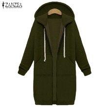 ZANZEA Winter Coats 2017 Women Sweatshirts Coat Casual Pockets Zipper Outerwear Hoodies Jacket Plus Size S-5XL Long Hooded