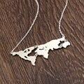 Mapa Del Mundo de Plata Esterlina personalizado Collar de Estado Personalizado Pendiente Conectar Continente Collar de Hip Hop Joyería Regalo Conmemorativo