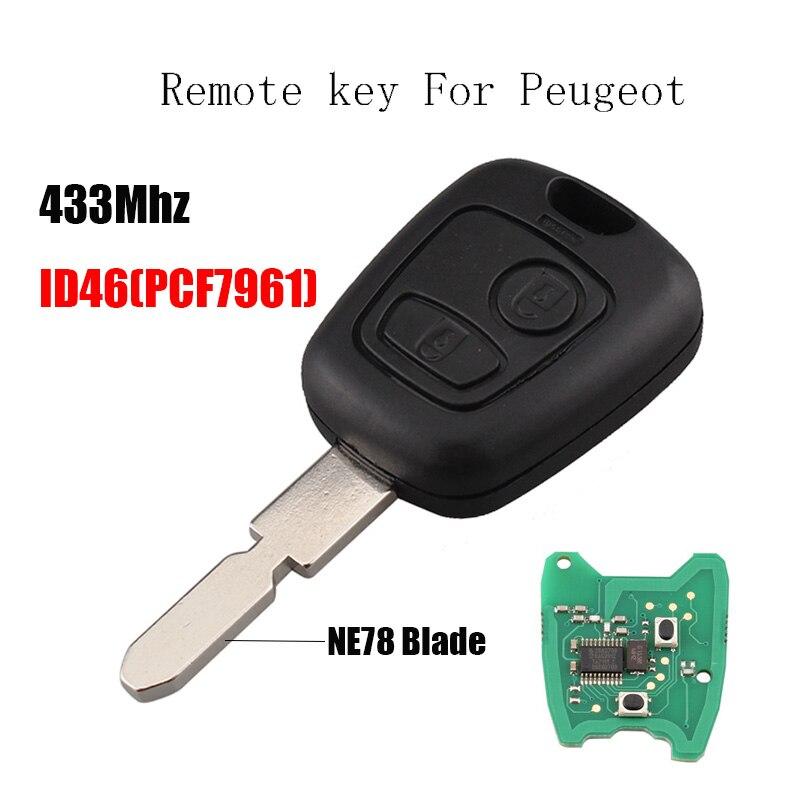 2 boutons À Distance De Voiture clé Transpondeur Puce ID46 Pour Peugeot 406 407 408 607 434 mhz & NE78 Lame D'origine touches