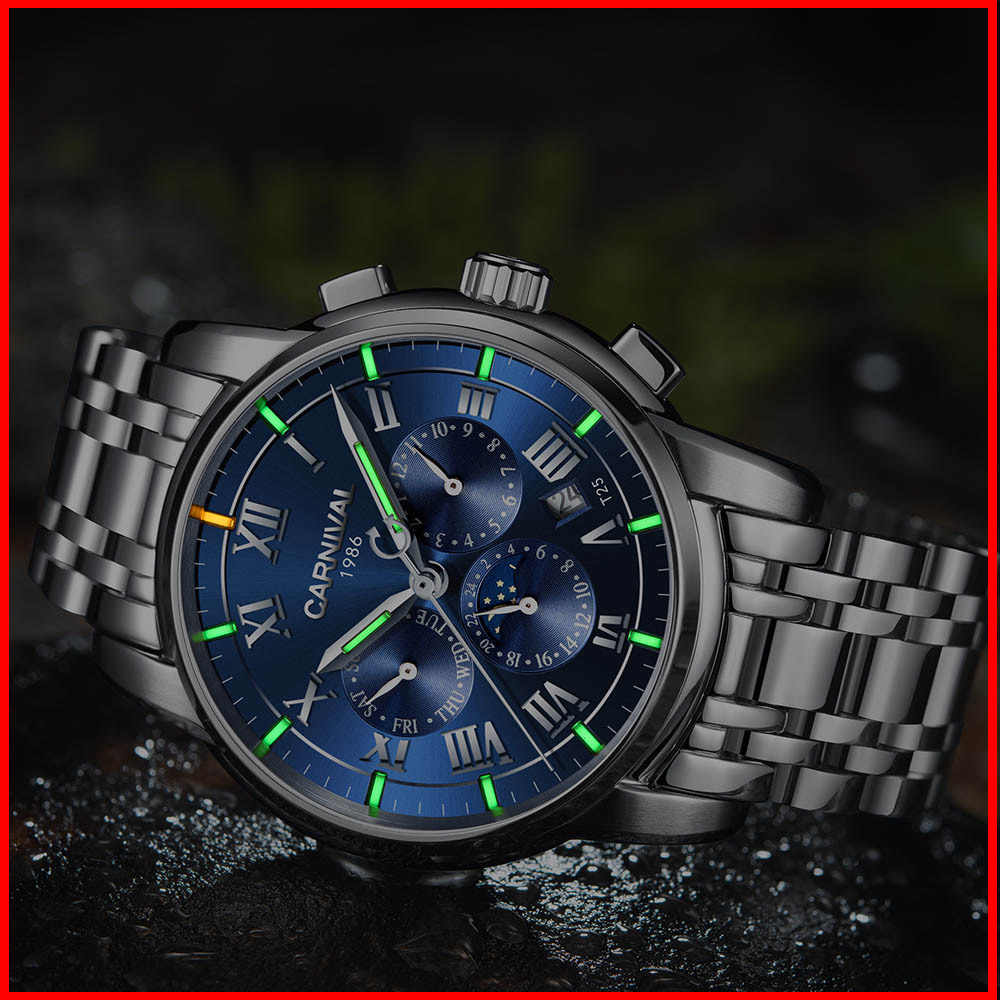 T25 tritium gas luminous Automatic Self-Wind Men Watches Sapphire Moon phase Mechanical Wristwatches relogio masculino 2017