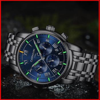 T25 gazu trytu świecenia automatyczne self-wiatr zegarki męskie szafirowe zegarki fazy księżyca mechaniczne zegarki na rękę relogio masculino 2017 tanie i dobre opinie Biznes Ze stali nierdzewnej 20cm Przycisk ukryte zapięcie 3Bar 39mm Auto data Kompletna kalendarz Moon phase Odporne na wodę