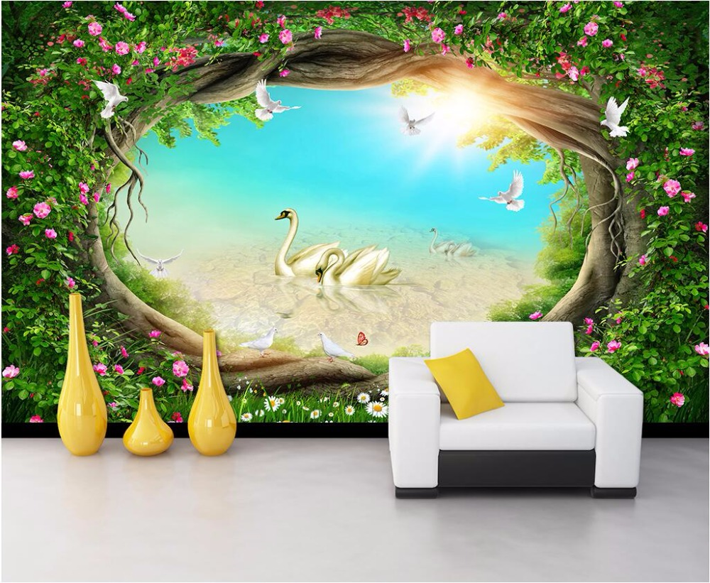 Custom photo mural 3d wallpaper fairy tale forest rattan for Fairy tale wall mural
