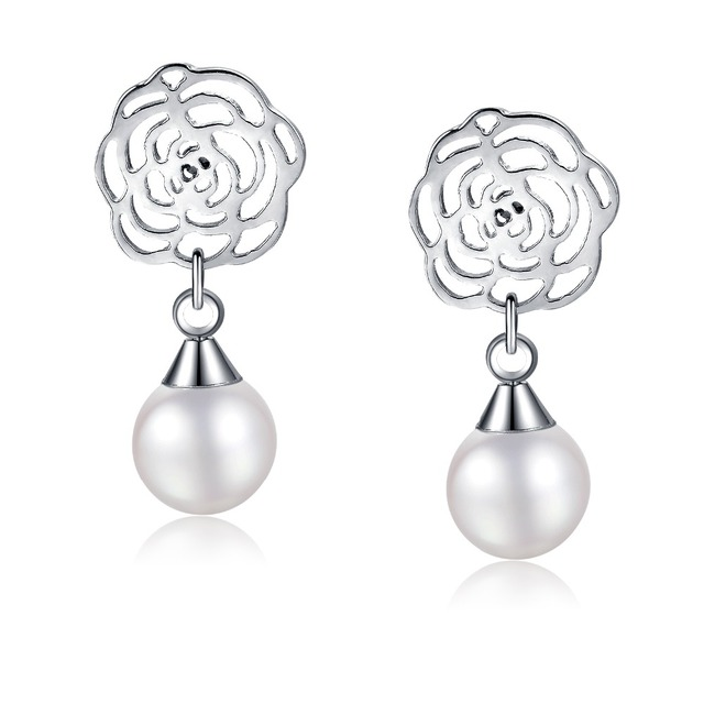 7f2fd8c8f Fate Love Luxury Hoop White Pearl Earrings with Rose Gold And Sliver Plated  For Women Double Sided Flower Fashion Jewelry FL330
