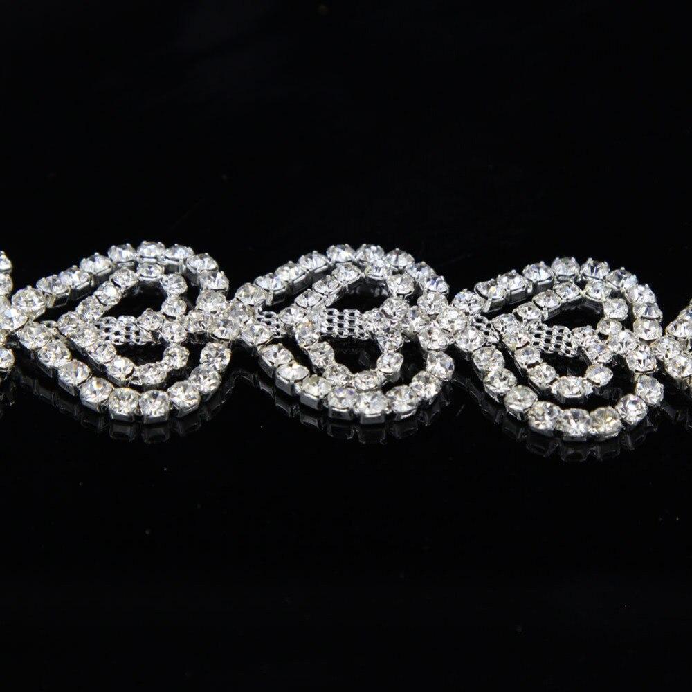 10Yards Silver Bridal Rhinestone Applique Trim Beaded Crystal Glass Trim Sew On Wedding Dress Rhinestone Applique in Rhinestones from Home Garden
