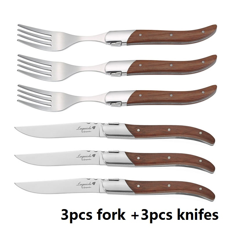 6 pièces couteau à Steak Style Laguiole fourchette à dîner manche en bois Rose couteaux à Steak acier inoxydable vaisselle couverts Restaurant 8.7''-in Fourchettes from Maison & Animalerie    1