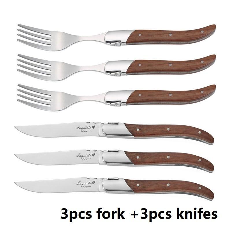 6 piezas Laguiole estilo cuchillo tenedor de madera de Rosa manejar cuchillos de acero inoxidable cubiertos restaurante 8,7''-in Tenedores from Hogar y Mascotas    1