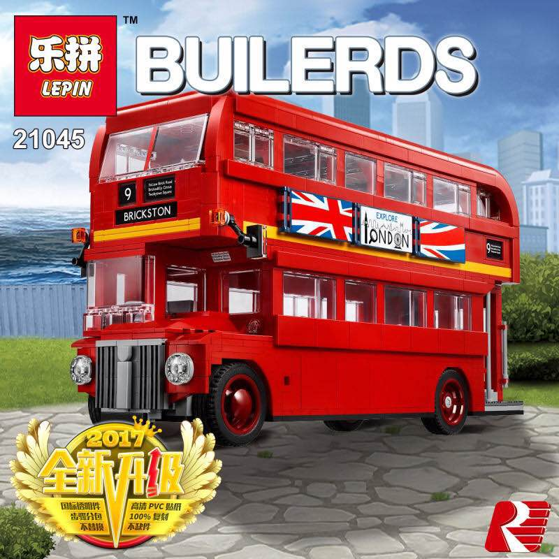 Lepin 21045 1716Pcs Model building kits compatible with lego city The London Bus Set 10258 Building Blocks Bricks Children lepin 14011 nexoe knights nfernox captures the queen model building kits aaron minifigures blocks bricks compatible with lego