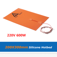 3D Printer Accessories Silica Gel Hot Bed Pad  200*300mm 220V 600W Silicone Rubber Heater Heat Bed Sheet With Cable|3D Printer Parts & Accessories| |  -