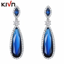 KIVN Fashion Jewelry Luxury Blue Pave CZ Cubic Zirconia Wedding Bridal Earrings for Women Promotion Birthday Christmas Gifts