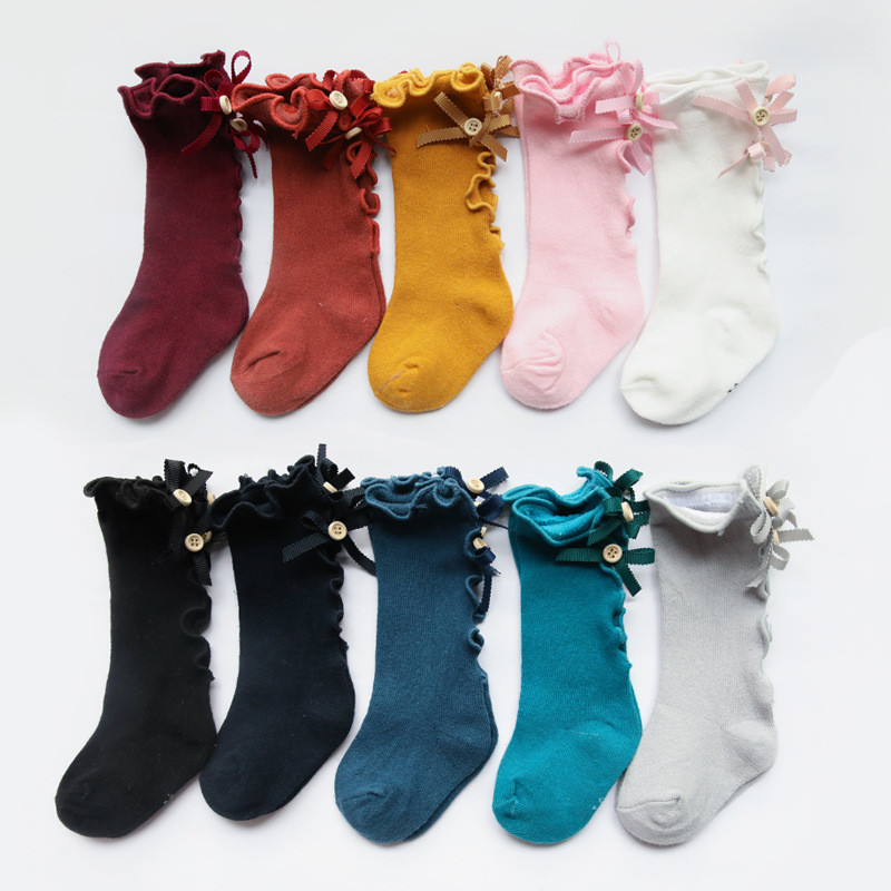 Boy Bow Girls Tube Socks Wooden Ear Lace Children Solid Color Baby Cotton Skarpetki Chaussette Enfant Toddler Knee Pack