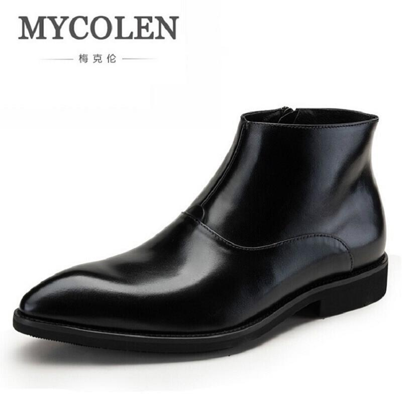 MYCOLEN Winter British Style Winter Martin boots Pointed Toe Men's Shoes Business Leather Ankle Boots Men Botas Hombre Cuero 2017 new autumn winter british retro men shoes zipper leather breathable sneaker fashion boots men casual shoes handmade