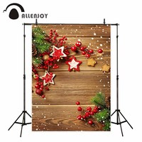Allenjoy Christmas Background Wooden Pine Branch Hearts Cookies Snow Backgrounds For Photo Studio Vinyl Backdrops